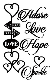 adore love hope hearts  100 x 180mm min buy 3